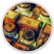 Pigments Round Beach Towel by Valerie Reeves