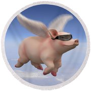Pigs Fly Round Beach Towel