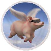 Pigs Fly Round Beach Towel