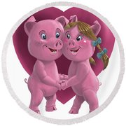 Pigs In Love Round Beach Towel