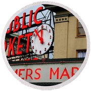 Pike Place Farmers Market Sign Round Beach Towel