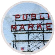 Pike Place Market Round Beach Towel by Linda Woods