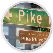 Pike Place Market Sign Round Beach Towel