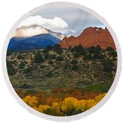 Round Beach Towel featuring the photograph Pikes Peak Fall Pano by Ronda Kimbrow