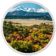 Pikes Peak Over Scrub Oak Round Beach Towel