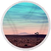 Pikes Peak To Prairie Round Beach Towel by Clarice  Lakota