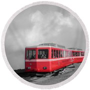 Pikes Peak Train Round Beach Towel by Shane Bechler