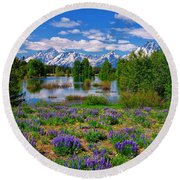 Pilgrim Creek Wildflowers Round Beach Towel
