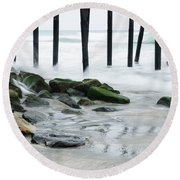 Pilings At Oceanside Round Beach Towel by Vivian Christopher
