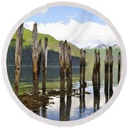 Round Beach Towel featuring the photograph Pilings by Cathy Mahnke