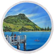 Pilot Bay Mt Maunganui 201214 Round Beach Towel by Selena Boron