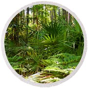 Pine And Palmetto Woods Filtered Round Beach Towel