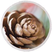 Pine Cone Round Beach Towel by Ivy Ho