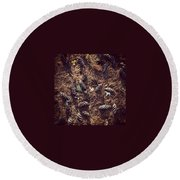 Pine Cones And Patterns Round Beach Towel