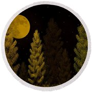 Pine Forest Moon Round Beach Towel