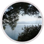 Round Beach Towel featuring the photograph Pine Trees Overhanging The Aegean Sea by Tracey Harrington-Simpson
