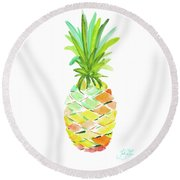 Pineapple I Round Beach Towel by Julie Derice