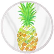 Pineapple II Round Beach Towel by Julie Derice