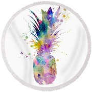 Pineapple Round Beach Towel by Watercolor Girl