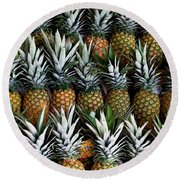 Pineapples  Round Beach Towel