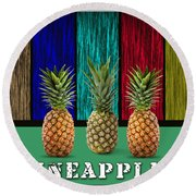 Pineapples Round Beach Towel by Marvin Blaine