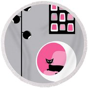 Pink 1 On Gray Round Beach Towel