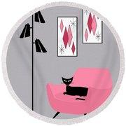 Pink 2 On Gray Round Beach Towel