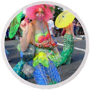 Round Beach Towel featuring the photograph Pink Afro by Ed Weidman