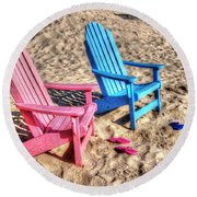 Pink And Blue Beach Chairs With Matching Flip Flops Round Beach Towel