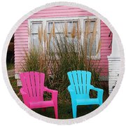 Pink And Blue Chairs By Jan Marvin Round Beach Towel