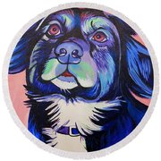 Round Beach Towel featuring the painting Pink And Blue Dog by Joshua Morton
