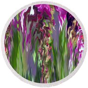 Pink And Green Floral Round Beach Towel by Cedric Hampton