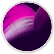 Pink And Purple Curves Round Beach Towel