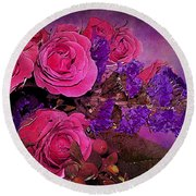 Pink And Purple Floral Bouquet Round Beach Towel