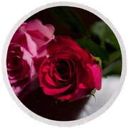 Round Beach Towel featuring the photograph Pink And Red Rose by Matt Malloy
