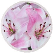 Pink And White Lilies Round Beach Towel by Jane McIlroy