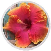 Tropical Pink And Yellow Hibiscus  Round Beach Towel
