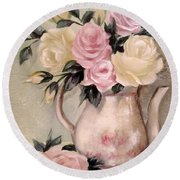 Pink And Yellow Roses In Teapot Painting Round Beach Towel