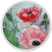 Pink Anemones Round Beach Towel by Marna Edwards Flavell
