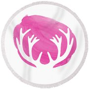 Pink Antlers Round Beach Towel by Marion De Lauzun