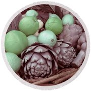 Pink Artichokes With Green Lemons And Oranges Round Beach Towel