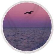 Pink Beach Sunset Round Beach Towel