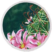 Pink Beauty Round Beach Towel by Eric Samuelson