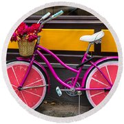 Pink Bike Round Beach Towel