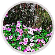 Pink Blooms In The Forest Round Beach Towel by Miriam Danar