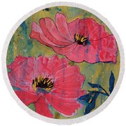 Round Beach Towel featuring the painting Pink Blossoms by Robin Maria Pedrero
