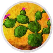 Beaver Tail In Bloom Round Beach Towel