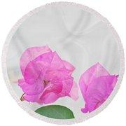 Pink Bougainvillea Flowers On White Silk Art Prints Round Beach Towel