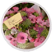 Round Beach Towel featuring the photograph Pink Bouquet by Carla Parris