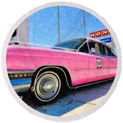 Pink Cadillac Round Beach Towel by Liane Wright